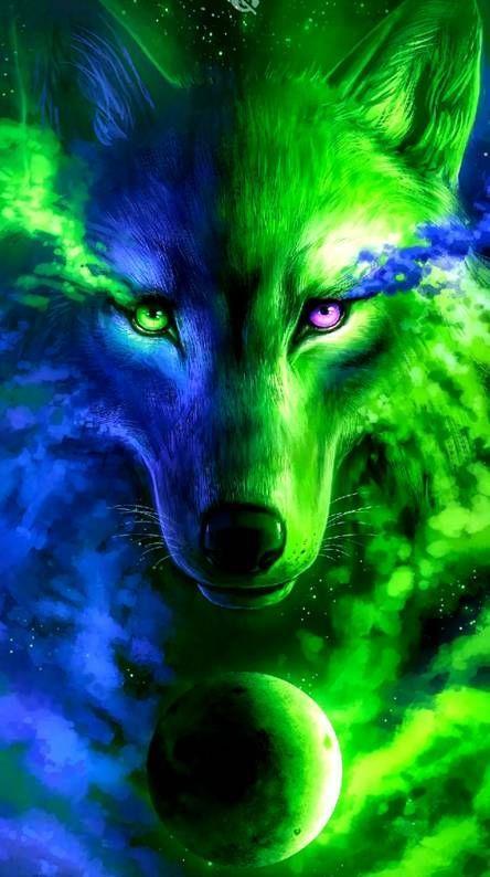 Lo Mejor De La Galaxia Del Lobo Del Cielo Nocturno Galaxy Geniales Papel Pintado Wolf Wallpaper Galaxy Wolf Mythical Creatures Art