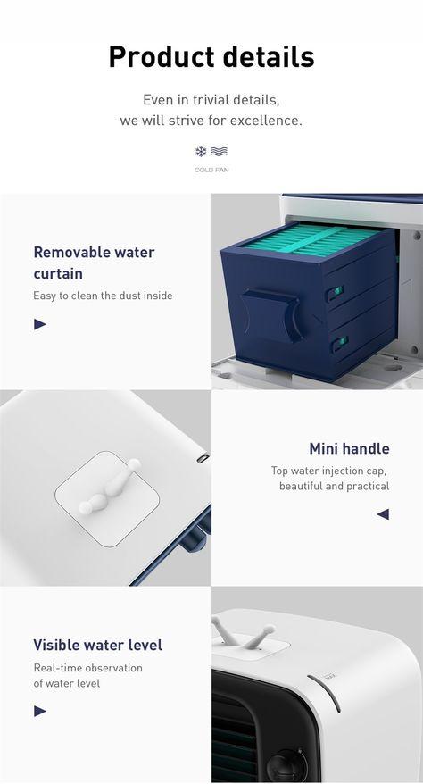 Baseus Air Cooler Fan Portable Air Conditioner Humidifier For Home Office Desktop Air Conditioning Fan Purifies Cooling Fan Air Cooler Fan Portable Air Conditioner