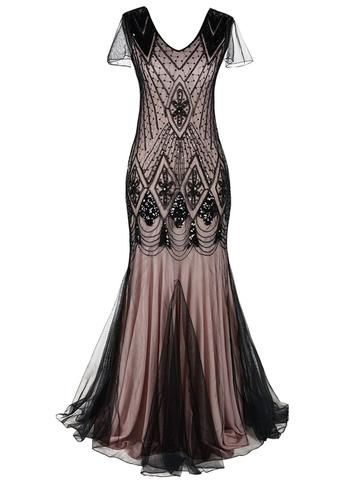 Champagne 1920s Sequined Flapper Dress Retro Stage Chic Vintage Dresses And Accessor Plus Size Gowns Formal Women S Evening Dresses Mermaid Evening Dresses