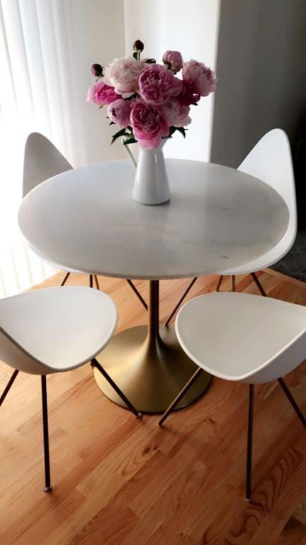 Marble Top Leilani Tulip Dining Table Tulip Dining Table Dining Table Marble Dining Table Gold
