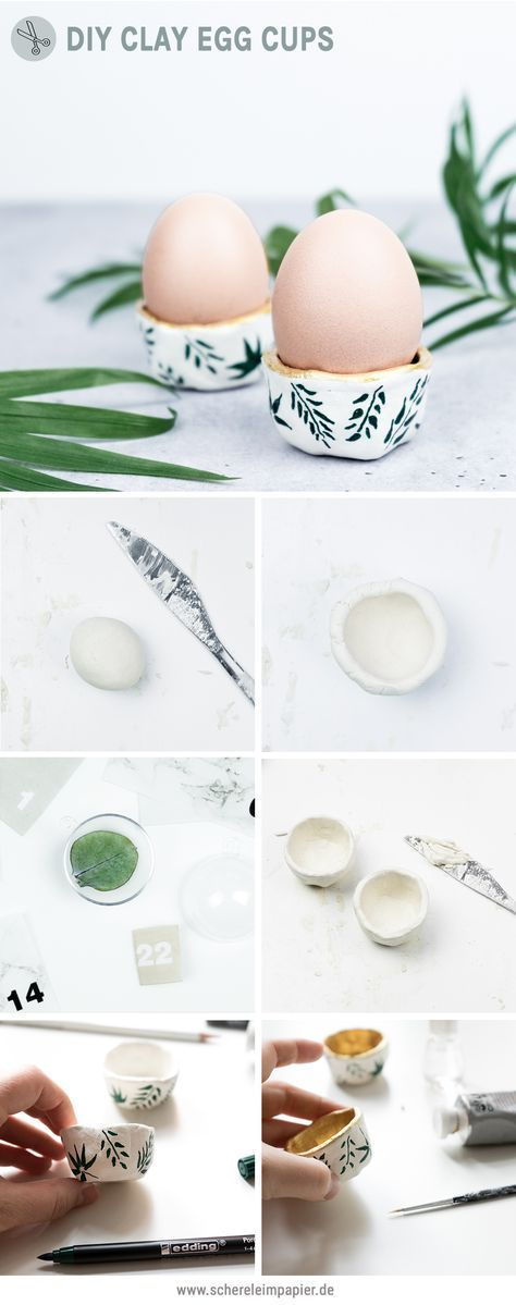 DIY Easter decorations: floral egg cups made of clay- DIY Osterdeko basteln: Florale Eierbecher aus Ton DIY Easter: make egg cups out of clay DIY decoration Craft Clay, Diy Clay, Clay Crafts, Diy And Crafts, Diy Osterschmuck, Pottery Courses, Diy Tableware, Pottery Store, Diy Ostern