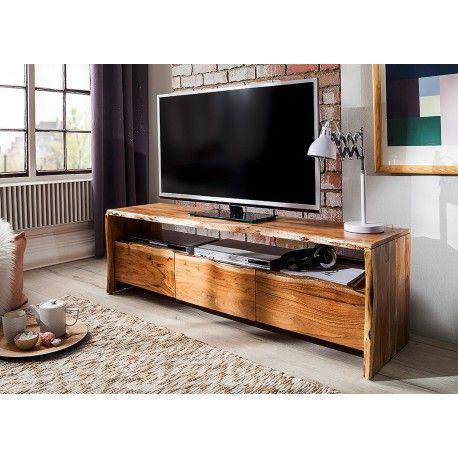 Meuble Tv Design Bois Massif Acacia 145 Cm Mobilier De Salon Meuble Tv Meuble Tv Design