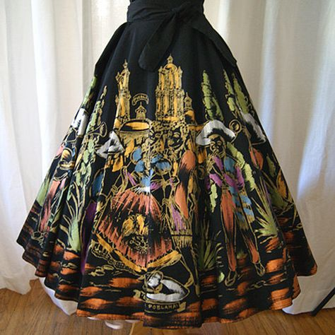 Gorgeous 1950's hand painted Mexican skirt with by wearitagain