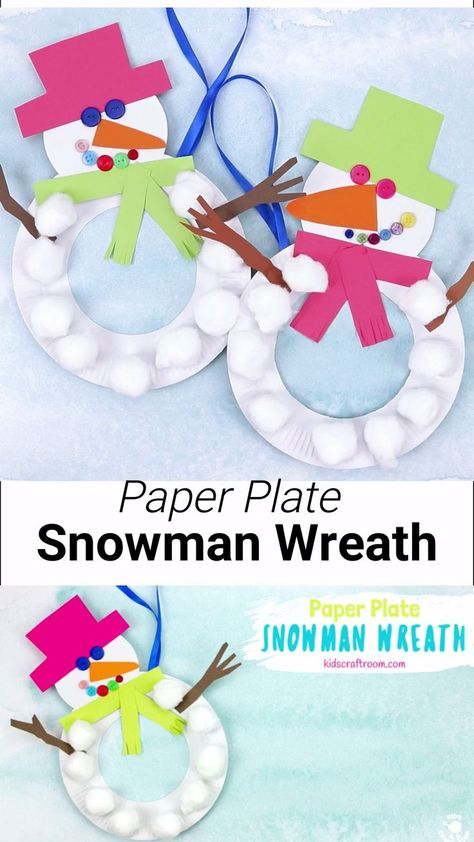 This Paper Plate Snowman Wreath is adorable! With button eyes and a cheeky smile no-one will be able to resist! This simple paper plate snowman craft is a great Christmas and Winter craft. Hang them on the door, window or wall for some snowman craft fun! Preschool Christmas Crafts, Winter Crafts For Kids, Classroom Crafts, Xmas Crafts, Easter Crafts, Diy Crafts For Kids, Kids Diy, Easy Toddler Crafts, Preschool Art Projects