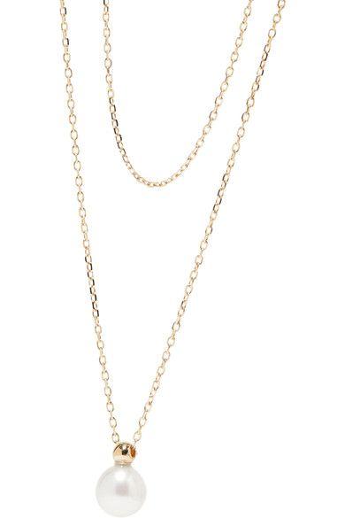 14-karat Gold, Freshwater Pearl And Diamond Necklace - one size Mizuki