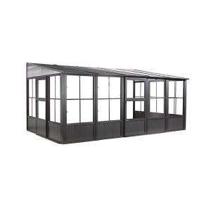 Gazebo Penguin Florence Add A Room Solarium 8 Ft X 12 Ft In Slate W1207 32 Patio Gazebo Aluminum Gazebo Aluminum Wall