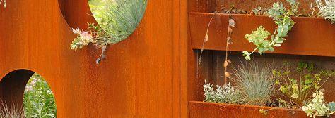 Barree Corten garden fence (Corten) with holes en planters by ABK Outdoor