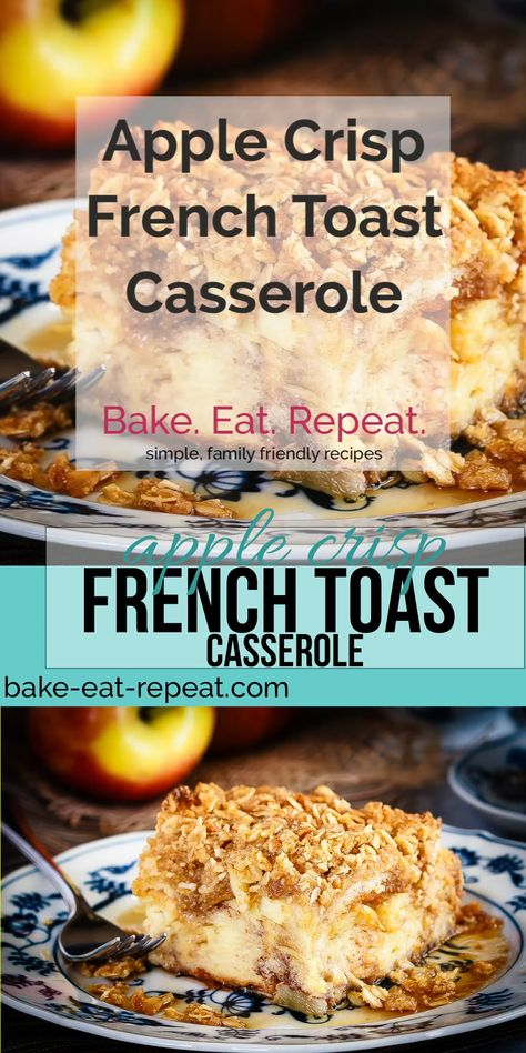 This apple crisp French toast casserole can be made ahead of time to make breakfast a super simple affair! Simplify your holidays with this tasty casserole! #recipe #recipevideo #video #frenchtoast #breakfast #casserole #breakfastcasserole #frenchtoastcasserole #apple #applecrisp #sponsored