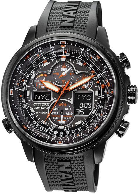 Citizen Men Eco-Drive Navihawk A-t Black Polyurethane Strap Watch 48mm JY8035-04E