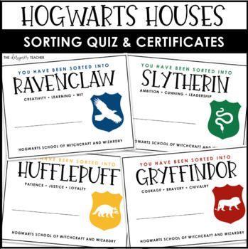 Hogwarts Houses Quiz Hogwarts Houses Certificates Hogwarts