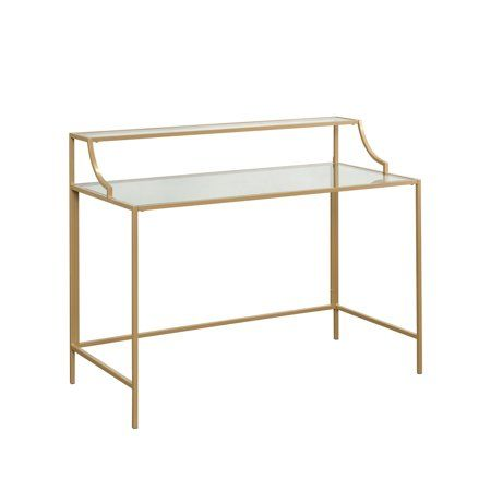 Better Homes Gardens Nola Writing Desk Gold Finish Walmart Com In 2020 Writing Desk Metal Desks Decor Essentials