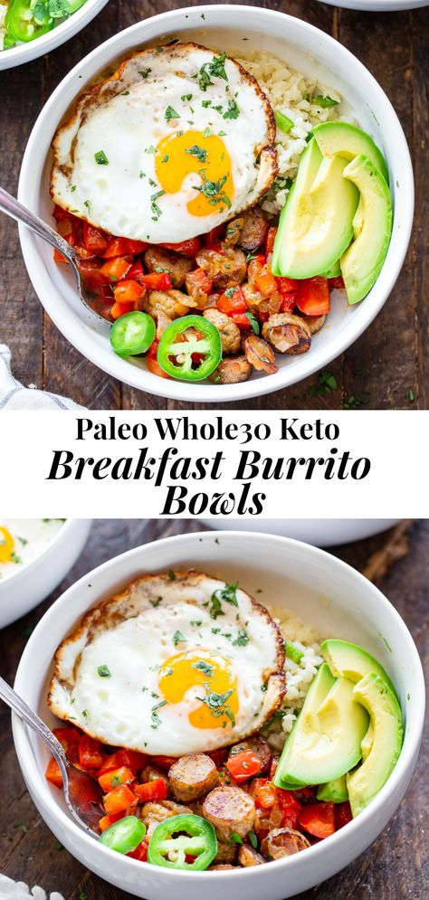 These Paleo Breakfast Burrito Bowls are loaded with goodies! Savory No Antibiotics Ever All Natural Golden Brown Ch Whole 30 Lunch, Whole 30 Diet, Whole 30 Breakfast, Paleo Whole 30, Breakfast For Dinner, Breakfast Bowls, Savory Breakfast, Chicken For Breakfast, Healthy Breakfast Meals