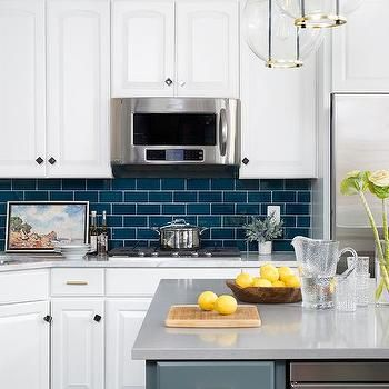 Dark Blue Subway Tiles With White Cabinets Blue Kitchen Tiles