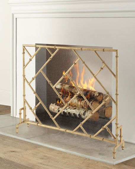 Bamboo Design Single Panel Fireplace Screen Fireplace Screens Gold Fireplace Screen Decorative Fireplace Screens