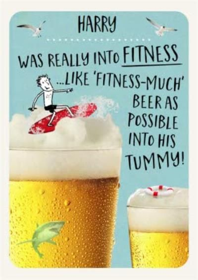 Funny Birthday Card For Him Fitness And Beer Birthday Cards For Him Funny Birthday Cards Vintage Business Cards Template
