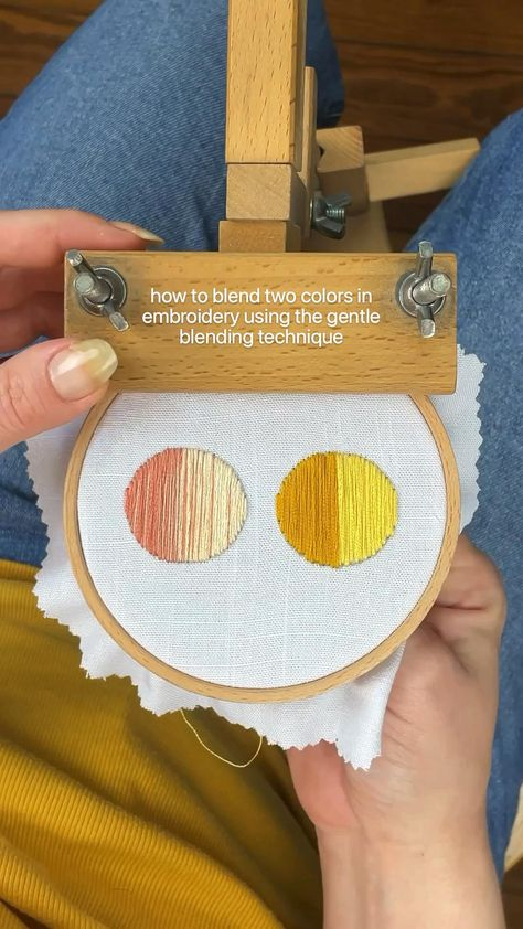 how to blend two colors in embroidery using the gentle blending technique