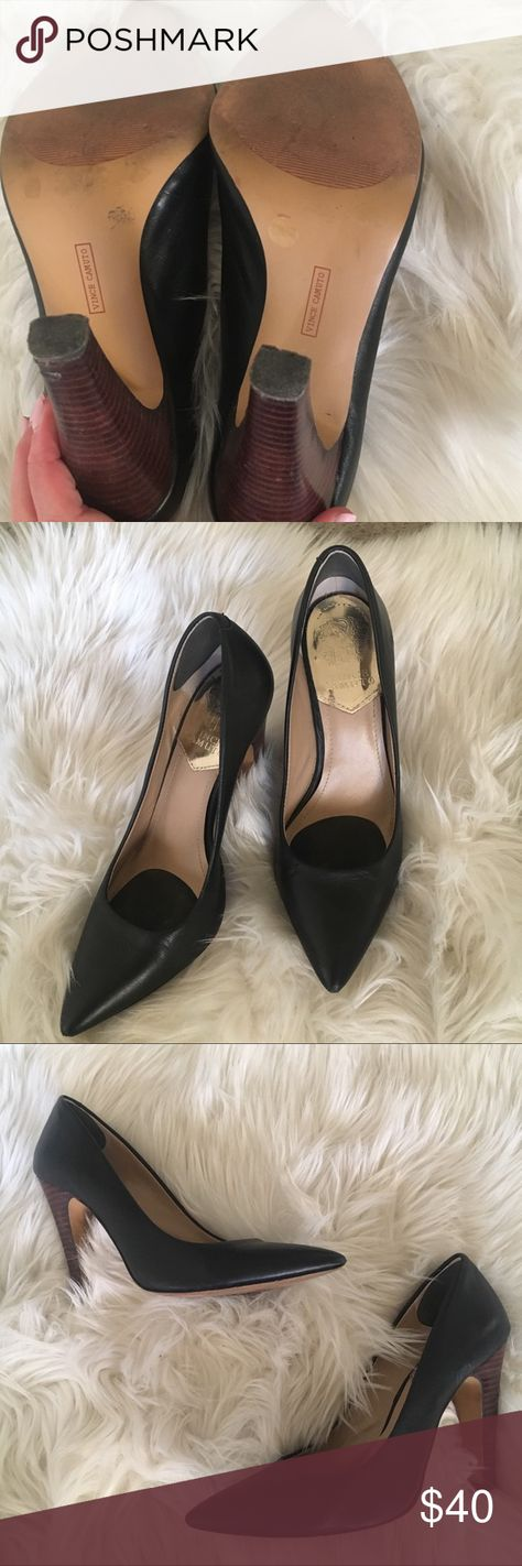 Vince Camuto Carra Black Pointed Toe Pumps Super cute pumps that you can dress up or dress down. Excellent condition. Wear is shown on right heel.  No trades. Please make reasonable offers. Vince Camuto Shoes Heels