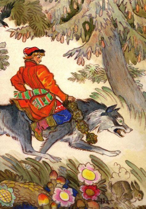 Иллюстрация картинки иван царевич и серый волк