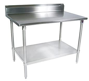 John Boos St4r5 3648gsk 14 Gauge Stainless Steel Work Table With 5 Quot Rear Riser Galvanized Base And Shel In 2020 Stainless Steel Work Table Work Table Steel Shelf