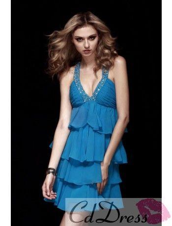 Sexy Empire V-halter Mini-length Chiffon Cocktail Dress