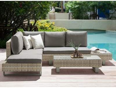 Brayden Studio Circleville Rattan Sofa Seating Group With Cushions Products Brayden Circleville Garden Sofa Set Rattan Garden Corner Sofa Garden Sofa