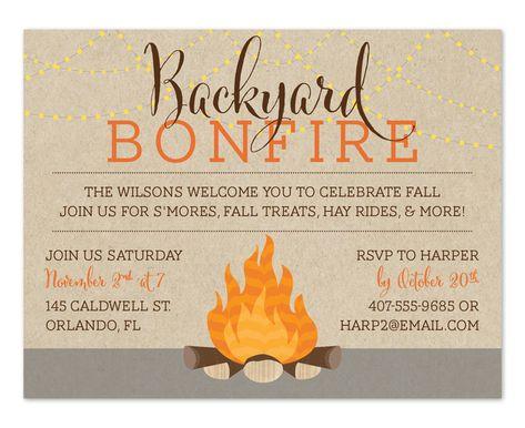 Backyard Bonfire Fall Party Invitations Bonfire Birthday Party Housewarming Party Invitations