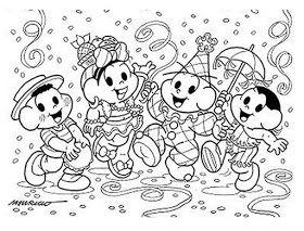 Desenhos Do Carnaval Turma Da Monica Para Colorir Pintar Imprimir