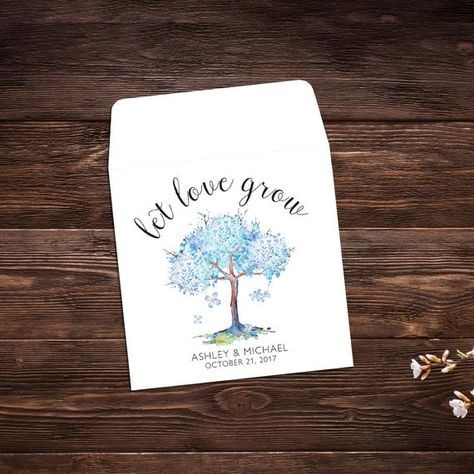 Seed Packet Favor, Let Love Grow, Watercolor # #seedpackets #seedfavors #weddingfavors #weddingseedfavor #weddingseedpackets #seedpacket #weddingfavor #seedfavor #bridalshower #seedpacketenvelope #seedpacketfavor #treefavor #bridalshowerfavor