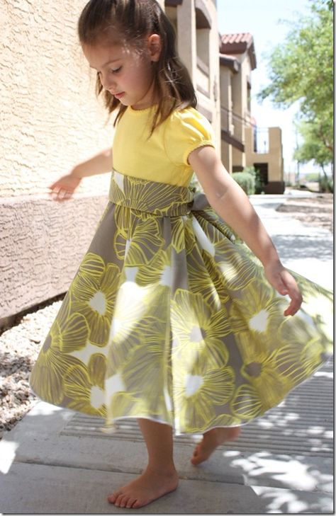 Twirly dress from a T-Shirt & fabric of choice. Photo Tutorial! I have some too short t-shirts waiting for transformation.