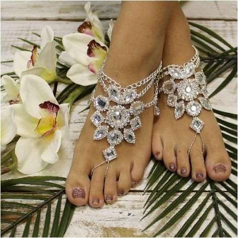 Bohemian inspired silver rhinestone barefoot sandals for festivals and weddings. My newest silver jeweled beach wedding foot jewelry with a boho twist. What makes these fun jeweled foot jewelry so per
