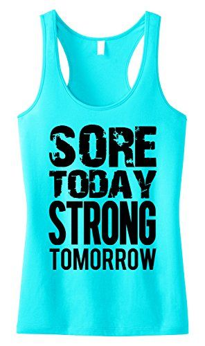 Gym Women T shirt Sore Today Strong Tomorrow dumbbell Fitness Crossfit Funny tee