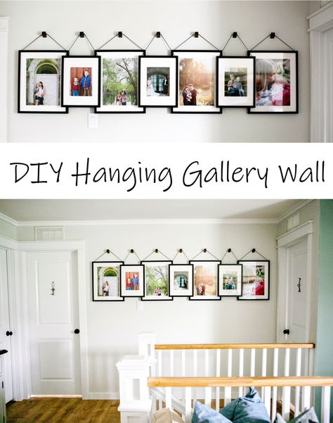 These frames only look like they're hanging. They're actually all supported on screws so they always stay straight and are easily accessible to swap out pictures.