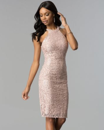 2019 Abiye Modelleri Ve Sik Gece Elbiseleri Pudra Dizustu Halter Yaka Dantelli Elbise The Dress Moda Stilleri