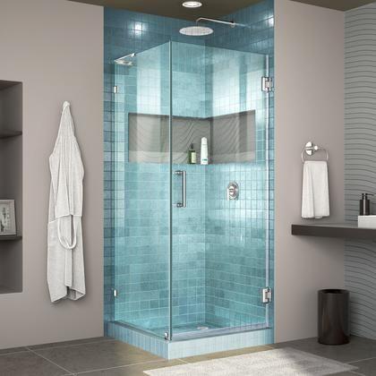 Shen 2330301 01 Unidoor Lux 30 3 8 W X 30 D X 72 H Frameless Hinged Shower Enclosure With L Bar Frameless Shower Doors Shower Doors Frameless Shower Enclosures