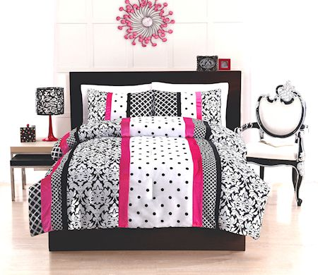 471ea08c8b Elegant Teen Girl Black White & Hot Pink Bedding Twin / Full Comforter Set  Damask Scroll & Polka Dot