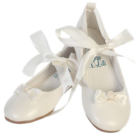 29e62600771 Ballerina Flats with Satin Ribbon Tie Ivory Dress Shoes (Toddler   Girls  Sizes)
