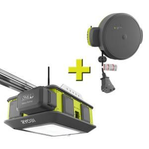 Ryobi Ultra Quiet 2 Hp Belt Drive Garage Door Opener With Retractable Cord Reel Accessory Gd201 Gdm330 Garage Door Opener Residential Garage Doors Garage Doors