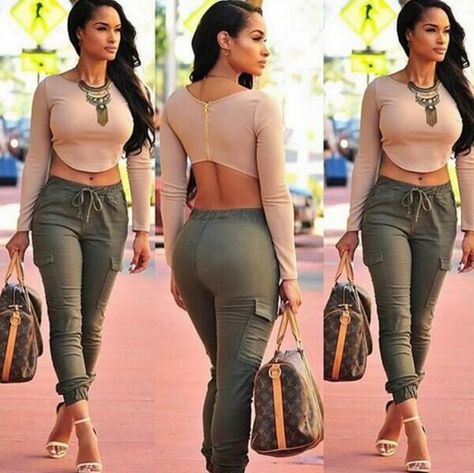 Sexy Women Casual Outfit 2 Piece Set Long Sleeve Back Zipper Crop Top and Army Green Drawstring Waist Pants Two-piece Set