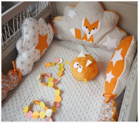 Tour de lit bébé nuage renard orange gris et blanc
