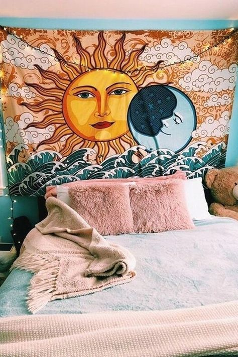 The Celestial Tapestry represents a reaching for the stars, a presence of mind that is in tune with the Earth and its energy. Grab the Celestial Tapestry today at the best online tapestry website! Cute Room Ideas, Cute Room Decor, Wall Ideas, Sun And Moon Tapestry, Wall Tapestry, Tapestry Bedroom Boho, Bohemian Pillows, Room Ideas Bedroom, Bedroom Decor