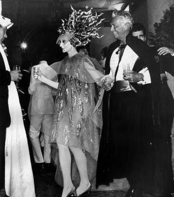 Jacqueline de Ribes and Douglas Fairbanks, Jr. at a masked ball in Venice, 1967