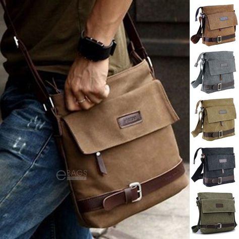 f1af763bbe $14.95 - Men's Canvas Crossbody Hiking Military Messenger Sling Shoulder  Bag Satchel #ebay #Fashion