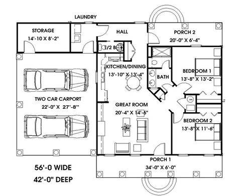 The Lakedale House Plan 5653 - 2 Bedrooms and 1.5 Baths   The House Designers