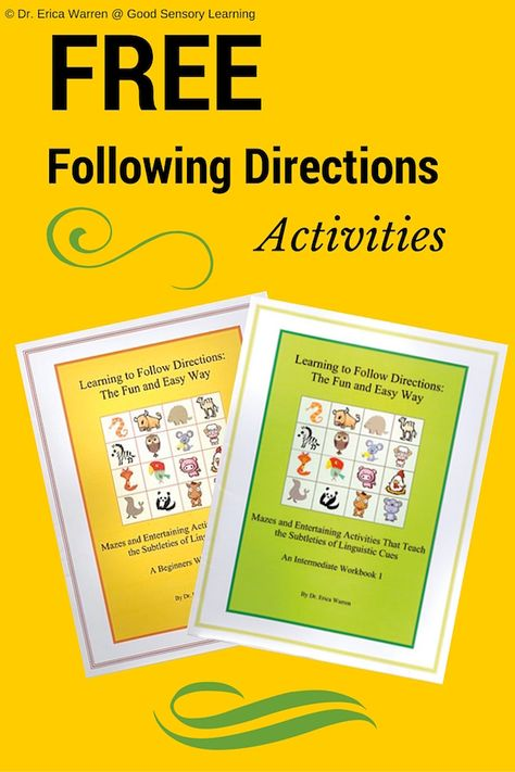 Free Following Directions Activities. Repinned by Staffing Options & Solutions, LLC SOS Resources pinterest.com/sostherapy.
