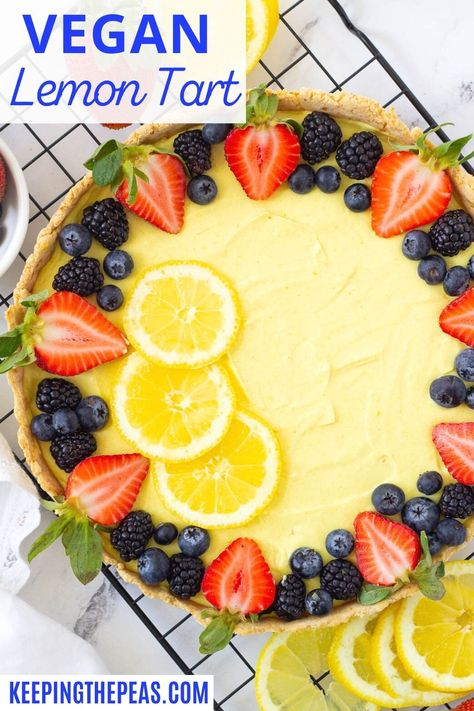 This vegan tart with a simple lemon cream filling is topped with fresh berries. The filling is bursting with bright, and tangy lemon flavor, while the gluten-free crust is crisp and slightly sweet! Topped with colorful fresh berries this is a spring and summer dessert you won't want to miss!