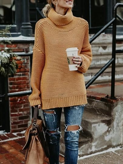 Yellow High Neck Long Sleeve Fashion Oversize Pullover