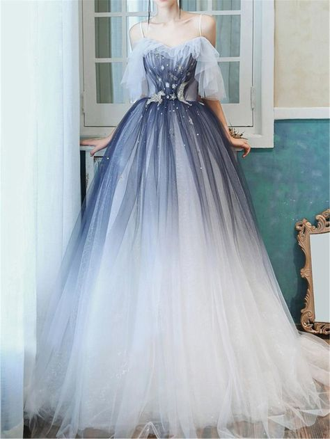 Blue Dreamy Prom Dress Long Evening Dress A Line Bridal Dress Gradient Navy Blue Banquet Dress Strap Prom Dress Graduation Dress Party Dress Straps Prom Dresses, Backless Prom Dresses, Ball Dresses, Evening Dresses, Big Prom Dresses, Chiffon Dresses, Formal Dresses, Elegant Dresses, Ball Gowns