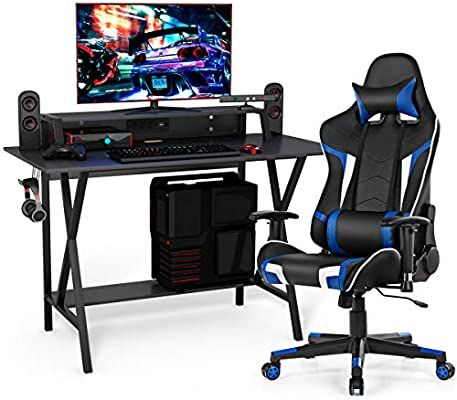 Amazon Com Tangkula Gaming Desk And Chair Set Ergonomic E Sport Gamer Desk Racing Chair Set W Cu In 2020 Home Office Computer Desk Computer Desk Chair Racing Chair