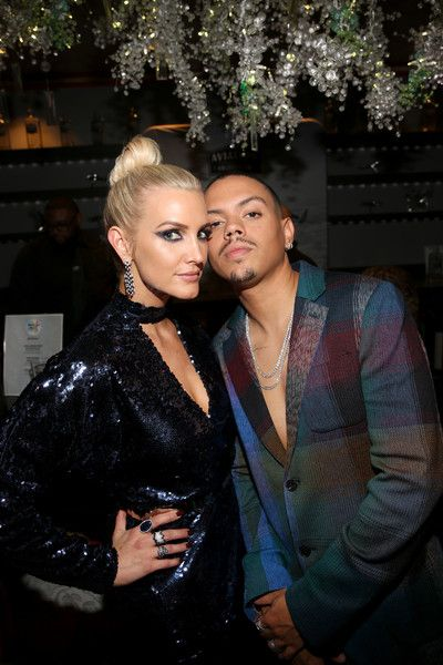 Ashlee Simpson (L) and Evan Ross attend the 2018 American Music Awards VIP Lounge, presented by Aviation American Gin, at Microsoft Theater Gold Ballroom.