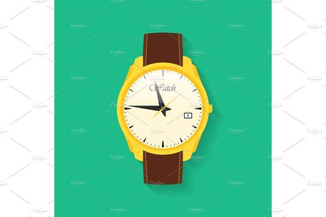 Icon of wrist watch. Symbol of hand clock. Vector